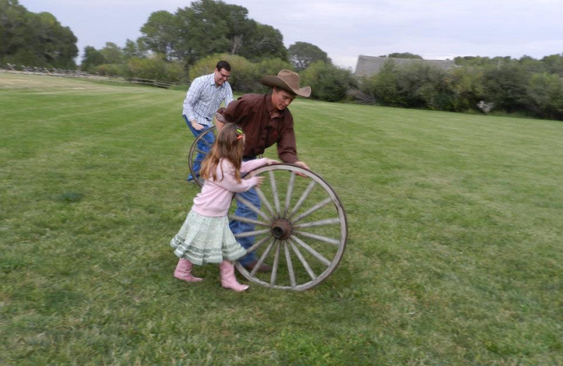 Wheel race at Vee-Bar Guest Ranch.