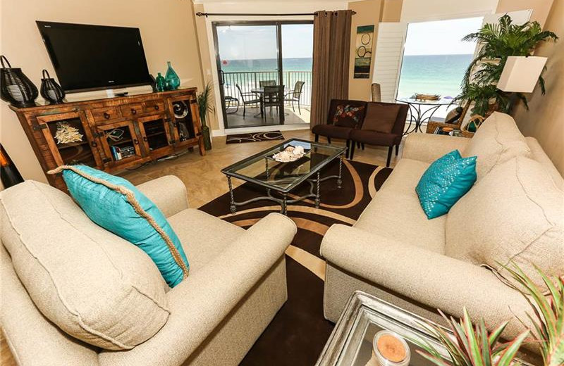 Rental living room at Holiday Isle Properties.
