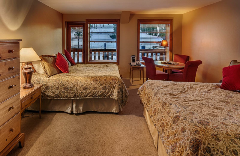 Mountain Deluxe guest room at Sugar Bowl Resort.