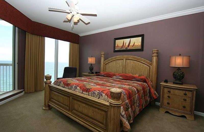 Rental bedroom at Silver Beach Towers.