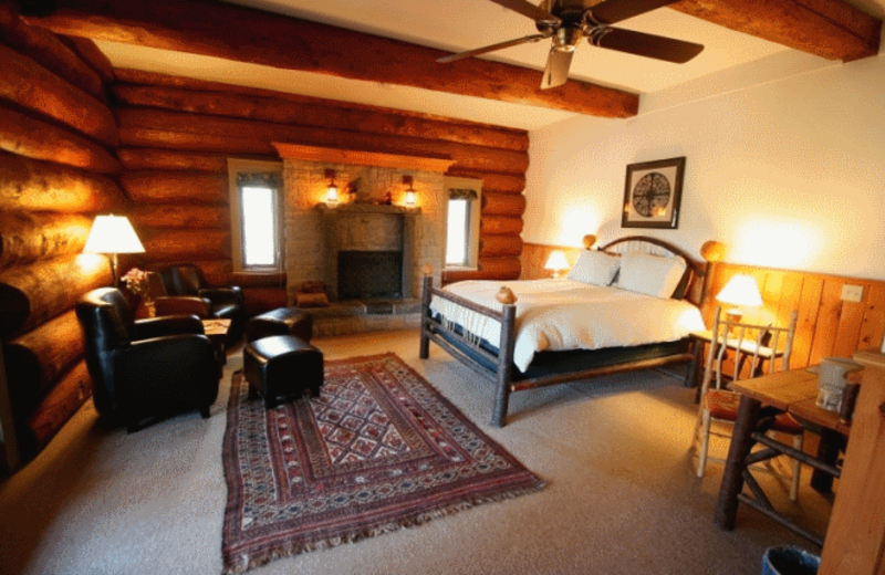 Guest room at Trout Point Lodge of Nova Scotia.