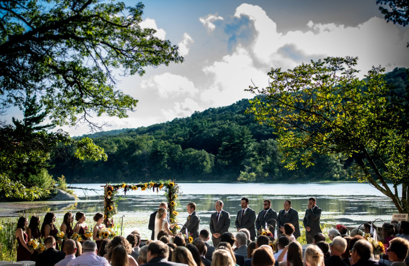 Wedding by lake at Arrow Park Lake and Lodge.