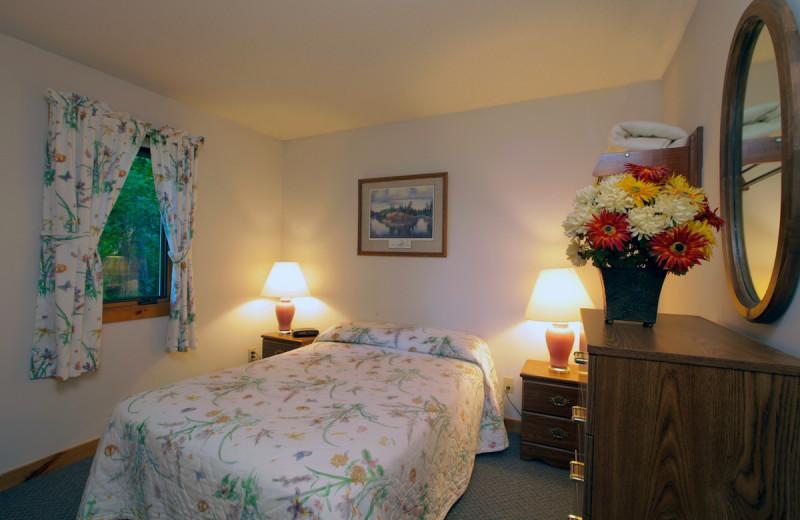 Cabin bedroom at Glenmore Resort.