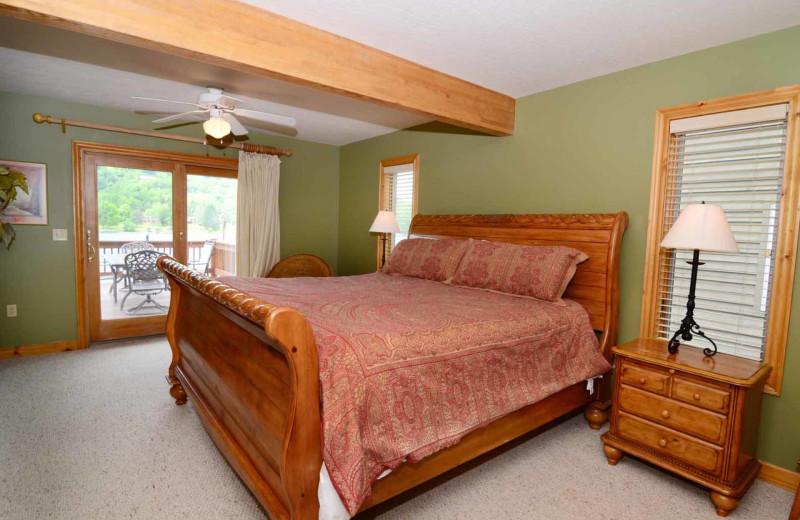 Rental bedroom at Railey Mountain Lake Vacations.