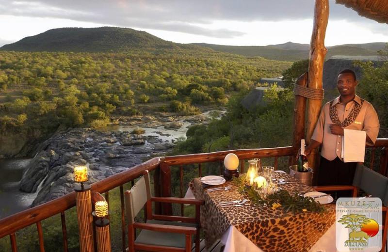 Dining at Mkuze Falls Game Lodge.