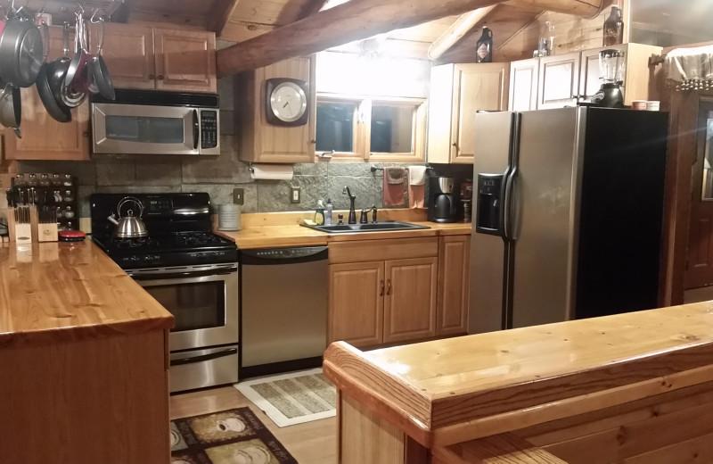 Guest kitchen at Kenai River Drifters Lodge.