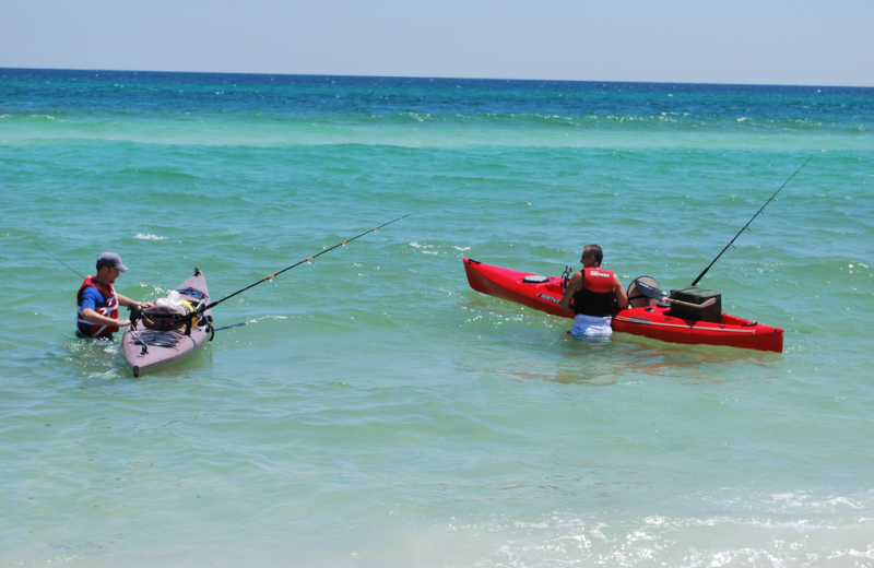 Fishing in the ocean at Gulf Pines RV Park.
