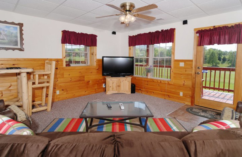 Cabin living room at Fireside Chalets & Cabin Rentals.