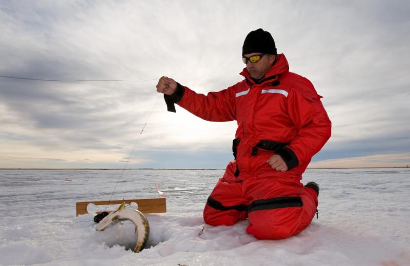Ice fishing at Buffalo Point Resort.