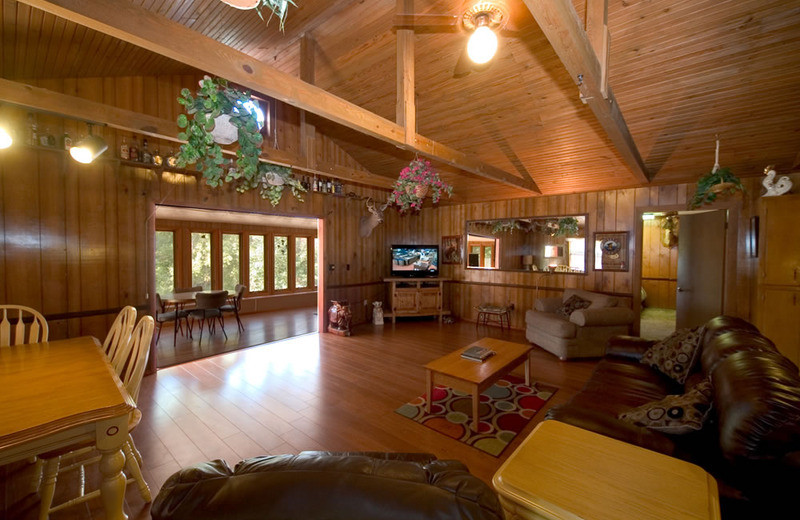 Cottage living room at Norfork Resort & Trout Dock.