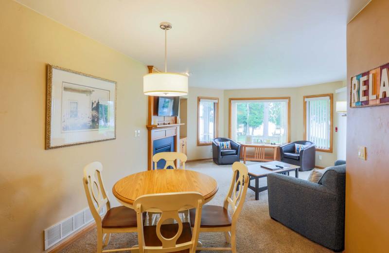 Guest room at Glidden Lodge Beach Resort.