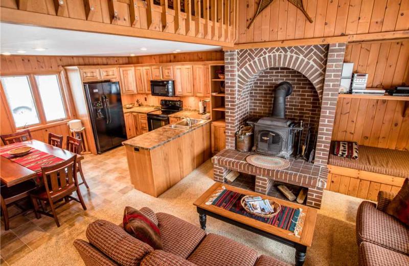 Cabin living room at Big Powderhorn Lodging Association.