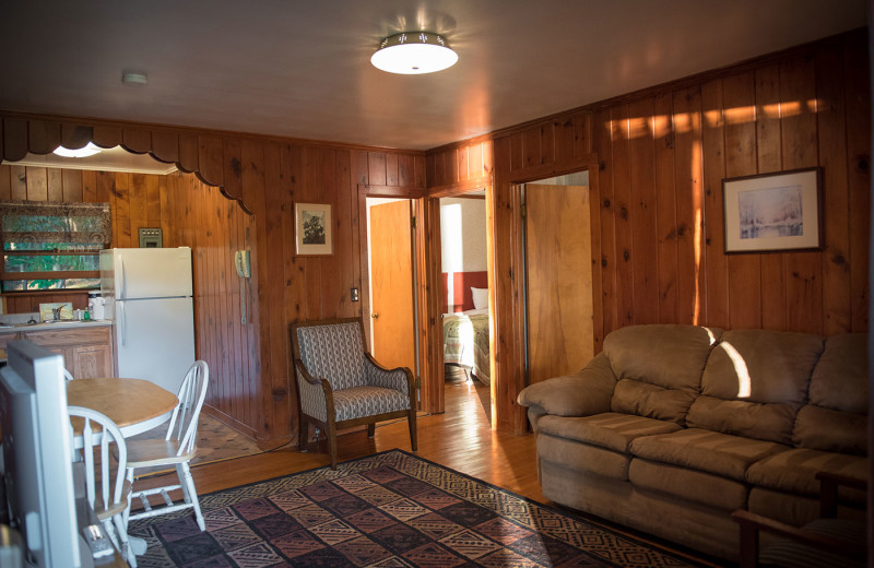 Cabin interior at Dunham's Bay Resort.