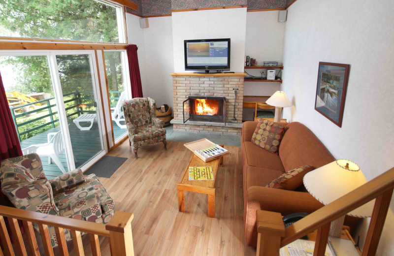 Cabin living room at Elmhirst's Resort.