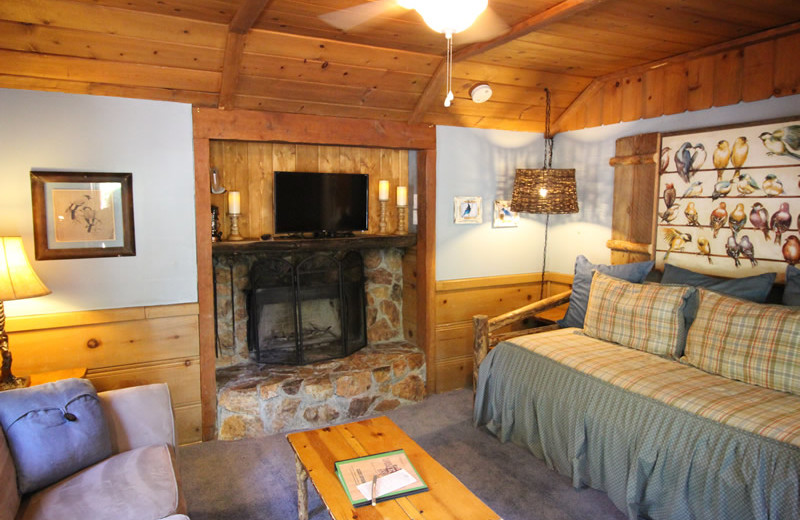 Cabin living room at Arrowhead Pine Rose Cabins.