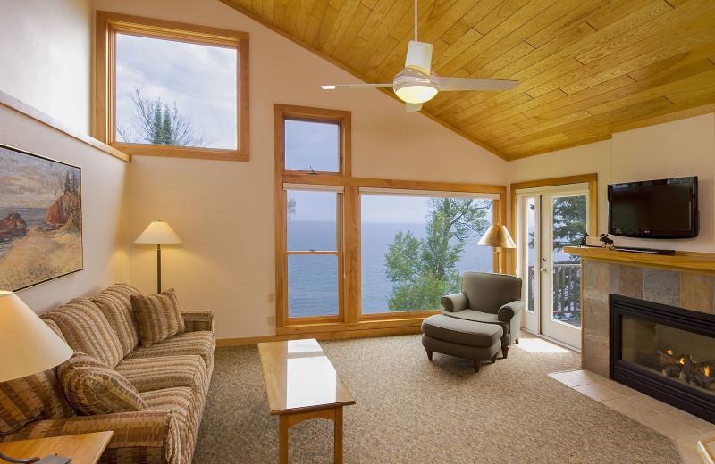 Condo living room at Lutsen Resort on Lake Superior.