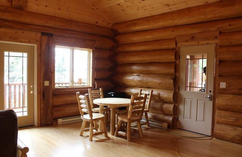 Cabin dining area at Aqua Log Cabin Resort.