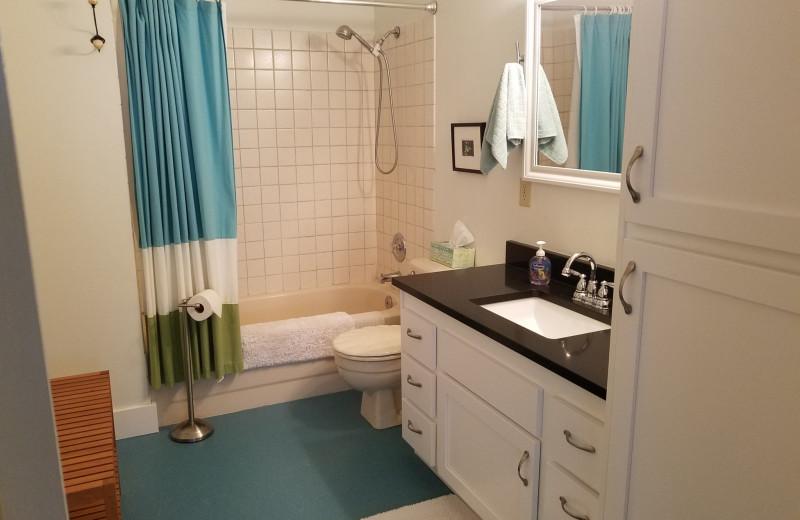 Rental bathroom at Oceanfront Getaways.