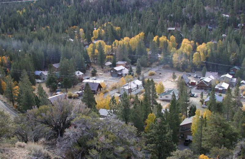 Aerial view of Reverse Creek Lodge.