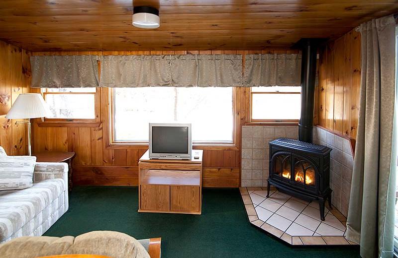 Cabin living room at Riverbank Motel & Cabins.