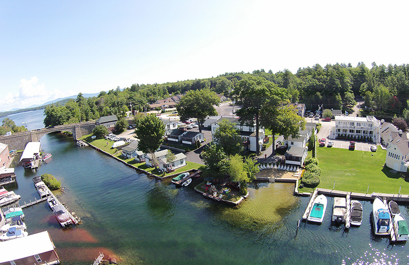 Aerial view of Channel Waterfront Cottages.