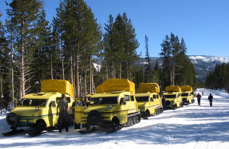 Snow vehicles at Yellowstone Wildlife Cabins.