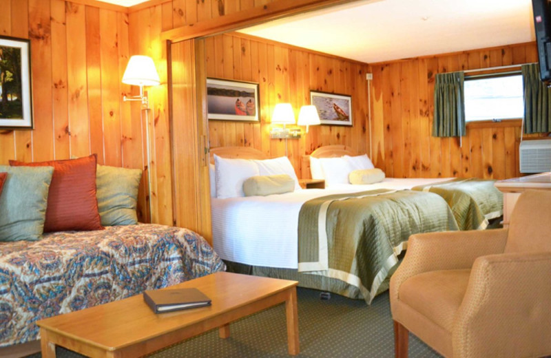 Cabin bedroom at Woodloch Resort.