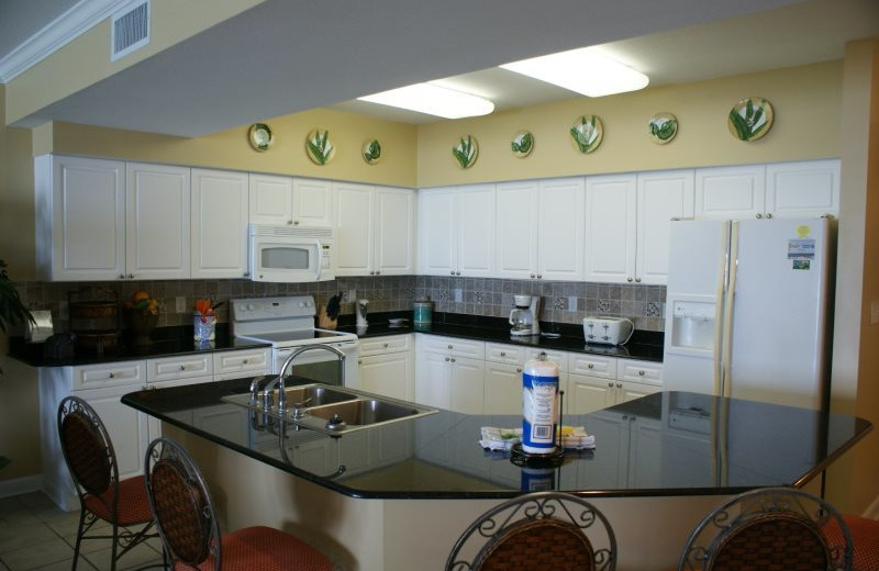 Rental kitchen at Gulf Beach Rentals.