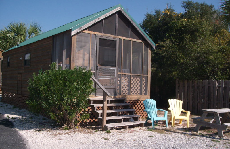 Cabin exterior at Navarre Beach Campground.