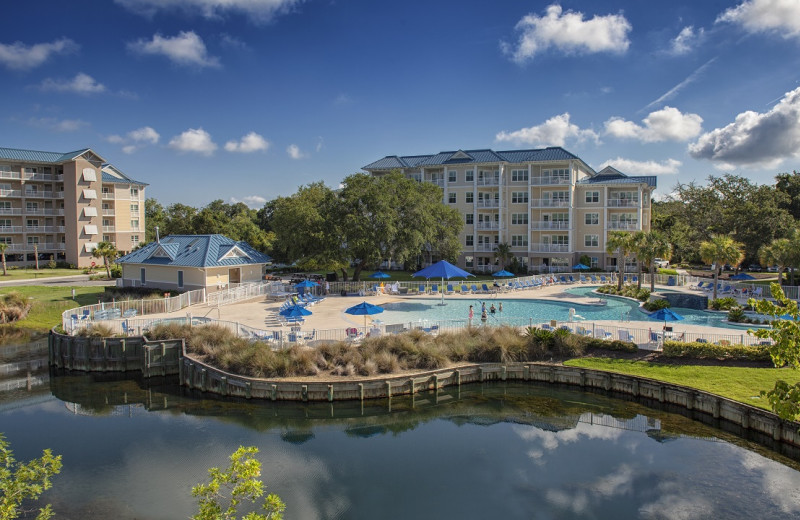 Exterior view of Bluewater Resort and Marina.