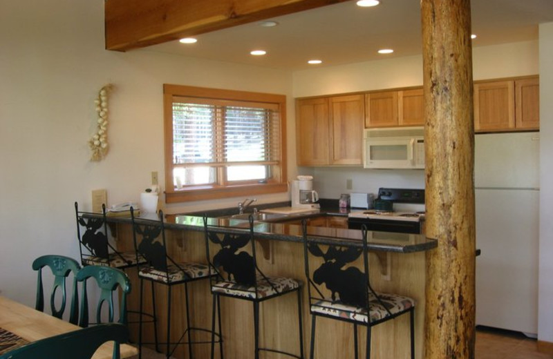 Cabin kitchen at Timberline Meadows Lodges.