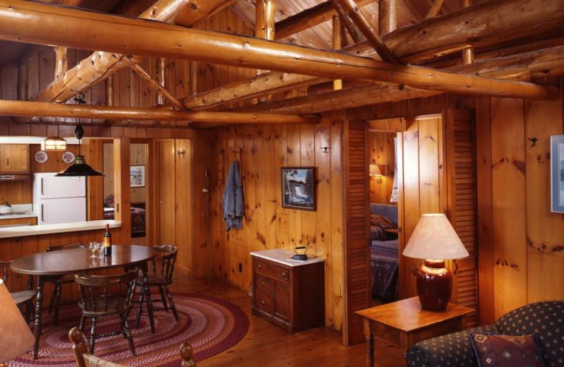 Hadley Cottage living room at at Elk Lake Lodge.