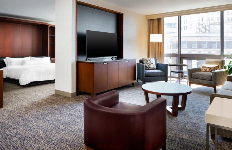 Guest room at The Westin Cincinnati.