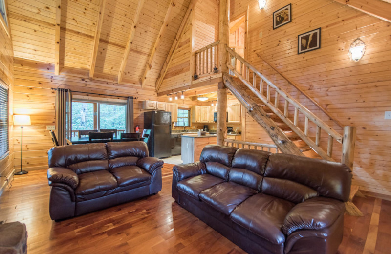 Rental living room at Cut Above Cabins.