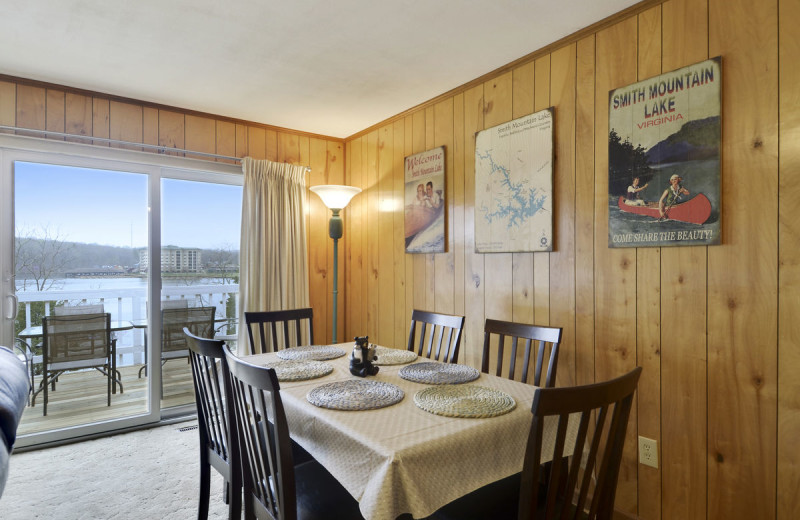 Rental dining room at Premier Vacation Rentals @ Smith Mountain Lake.