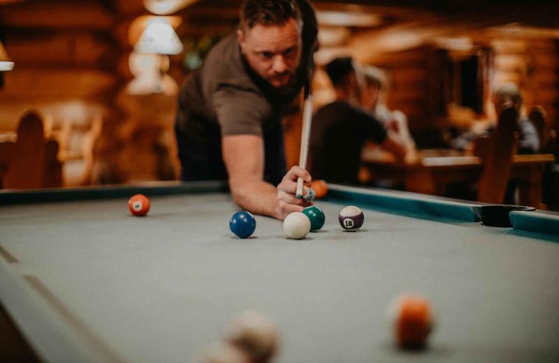 Billiard table at Big Creek Lodge.