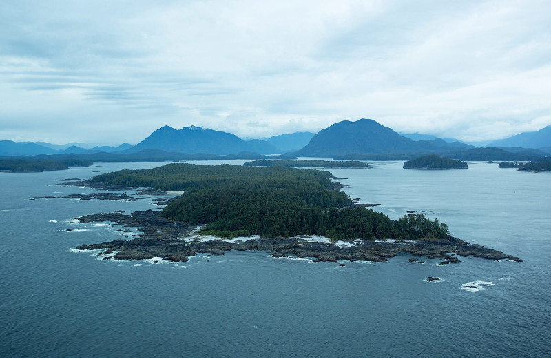 Aerial view of islands at Nootka Wilderness Lodge.