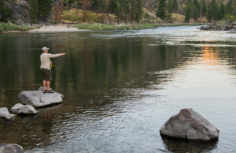 Fly fishing at Salmon River Tours.