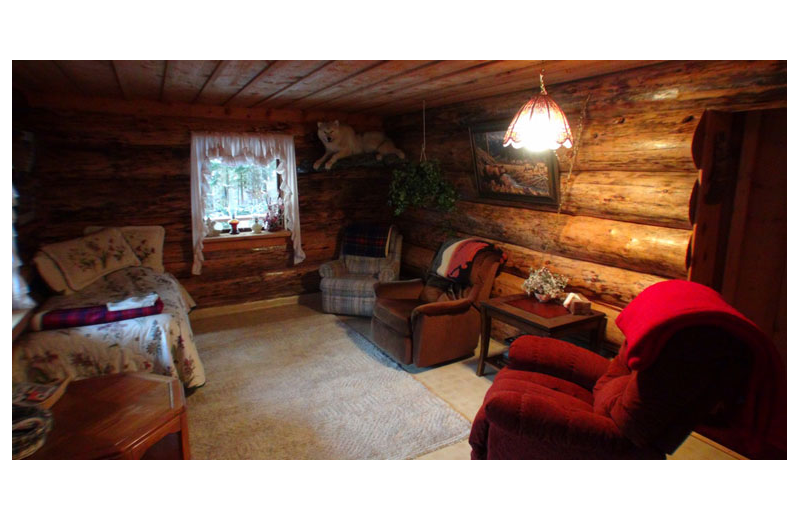 Cabin living room at Afognak Wilderness Lodge.