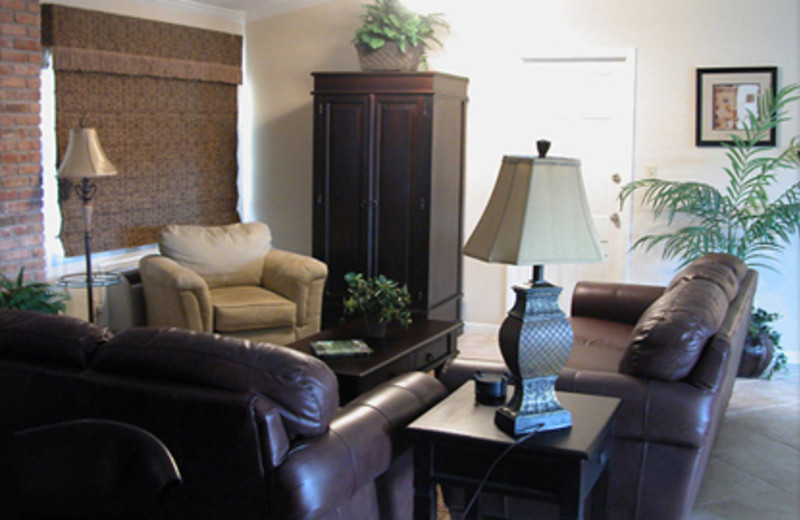 Rental living room at Cottages on the Green.