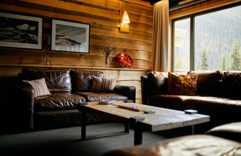 Lounge at CMH Bugaboos Lodge.