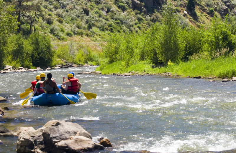 River rafting near Lazy R Cottages.
