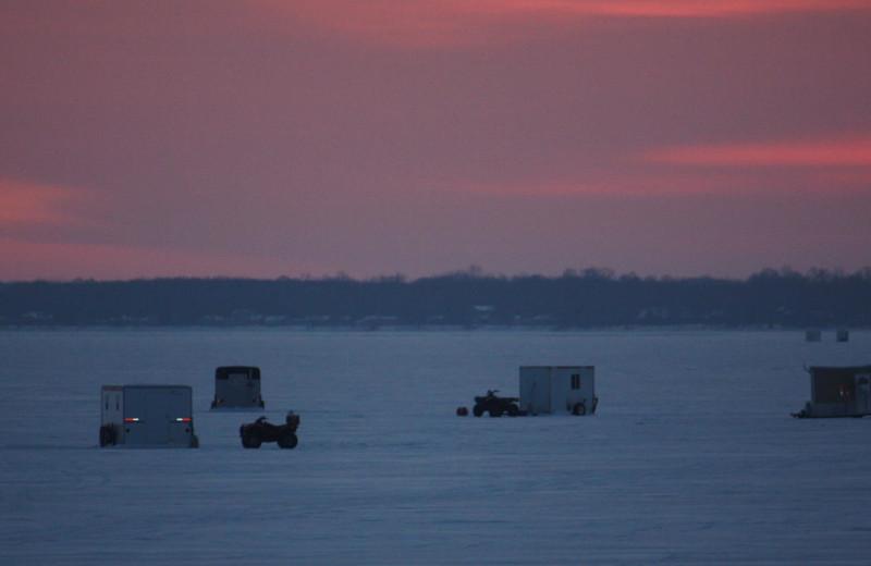 Ice fishing at Barky's Resort.