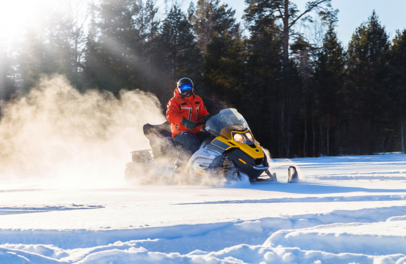 Snowmobiling at Elk Lake Wilderness Resort.