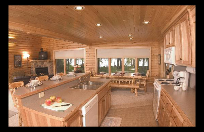 Cabin kitchen at Brindley's Harbor Resort.