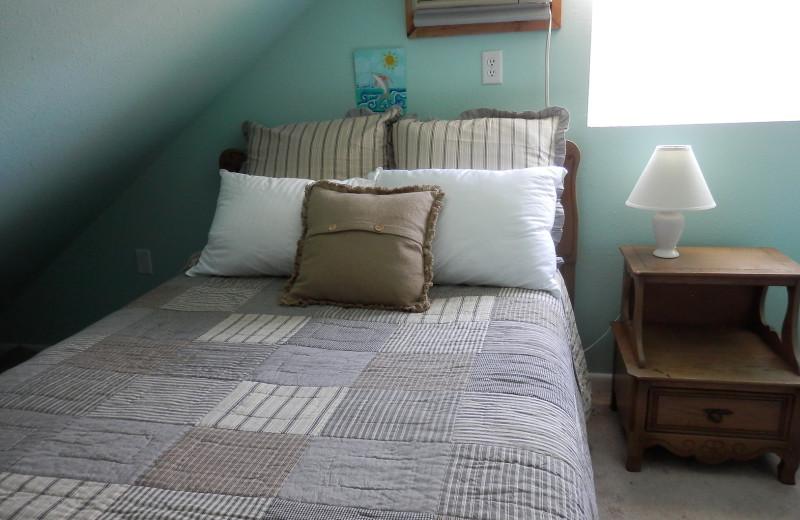 Cabin bedroom at Brophy Lake Resort.