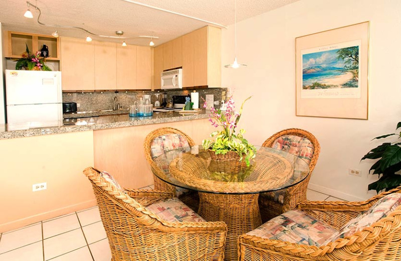 Condo kitchen and dining area at Kamole Sands.