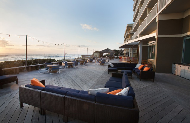 Patio chairs at Crowne Plaza Melbourne Oceanfront Resort.