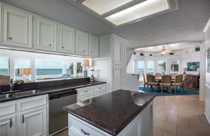 Rental kitchen at Gary Greene Vacation Rentals.