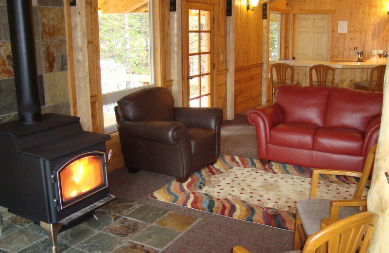 Lounge with fireplace at Kenai Fjords Glacier Lodge.
